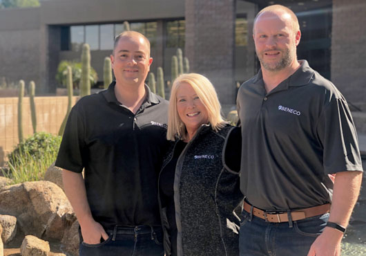 From left to right: Chief Financial Officer Dwight Sawin, Chief Executive Officer Kristy Bryson, and Director of Sales Jason Sperfslage, outside of the Beneco office in Scottsdale, Arizona.