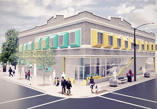 Rendering of one of GMA Construction Group's projects, Gads Hill Center in Brighton Park, shows the conversion of an existing commercial space into a  full-service early childhood learning facility.